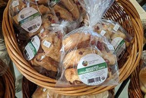 local baked goods, cranberry ginger scones