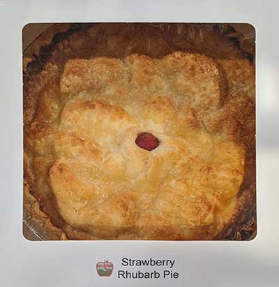 our own homemade strawberry rhubarb pie